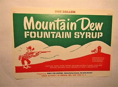 MOUNTAIN DEW fountain syrup 1950's one gallon jug label