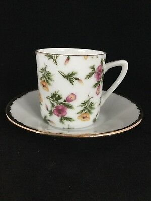 Vintage Pink & Yellow Floral Chintz Pattern Demitasse Cup And Saucer Set - Sweet