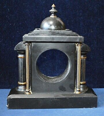 Antique Victorian Miniature Black Slate Portico Clock Case