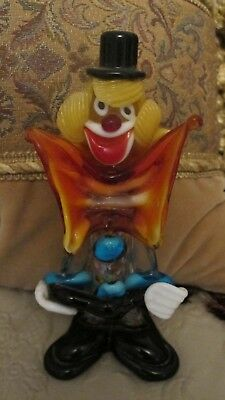 Vintage Hand Blown Glass Clown Figurine with Guitar
