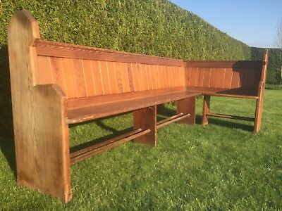 Antique/Vintage Reclaimed Wooden Corner Church Pew or Bench - Probably Victorian