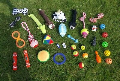 30x Dog Toys & 2x Clicker Trainers Bundle - Soft Squeaky Balls Teddys Tug Rope