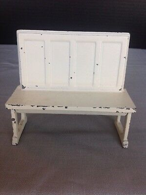 Antique Vintage Arcade Cast Iron Toy Doll House Kitchen Railroad Bench Curtis #1