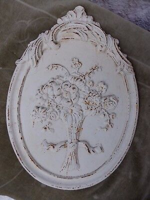 Oval Cast Metal Wall Plaque Floral Design Architectural Salvage Painted