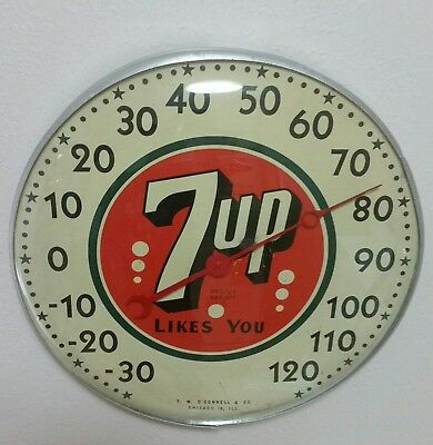 C. 50's 7up advertising thermometer sign soda gas station ford old store antique