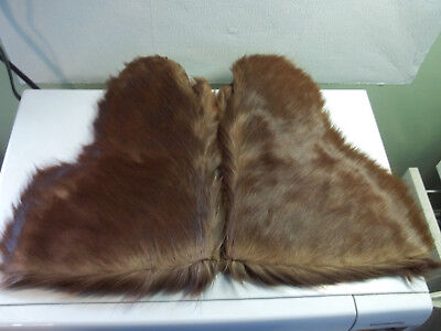 Pair Antique Men's Hide/Horsehair Mittens Brown Very Good Condition Early 1900's