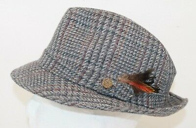 8728ddbd30012 Pendleton Men s Tweed Fedora Hat with Feather Pure Virgin Wool Size 7 ...