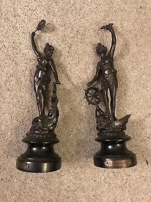 Unusual Decorative Man & Lady Of French Faux Bronze / Spelter Cast Metal Figures
