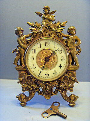 "ANTIQUE FRENCH ""JAPY FRERES"" CHERUB BRASS MANTEL CLOCK,c 1880-1900."