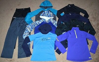 Lot of 9 Girl's Under Armour/Nike Hoodies/Long Sleeve Shirts/Pants Size M
