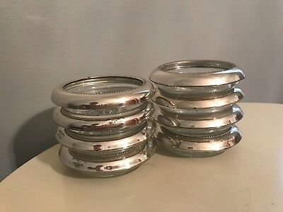 Antique Frank M Whiting Sterling Silver & Glass Coasters 2 Sets of 4