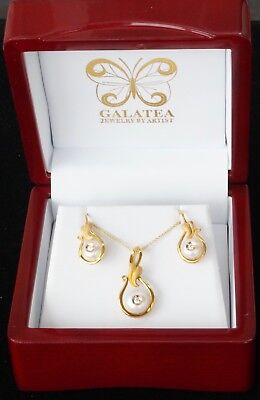 NEW 14K Yellow Gold Galatea Diamond Pearl Earring Necklace Set