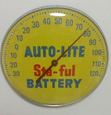 C. 50's AUTO-LITE STA-FULL BATTERY advertising thermometer sign soda gas station