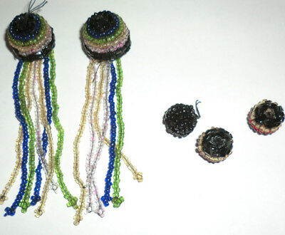 Vintage Antique Beaded Multi Colored Adornments Tassels & Rounds 5 pc Mixed Lot