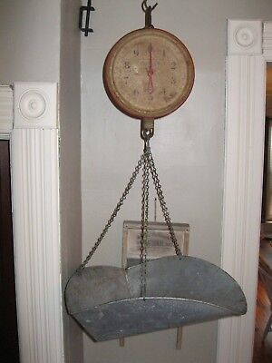 Vintage Antique Red Chatillon Hanging Produce Scale