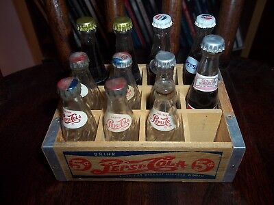 11 Vintage Miniature Pepsi Cola Bottles with Wood Case