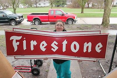 "Large Vintage c.1960 Firestone Tires Gas Station Oil 72"" Embossed Metal Sign"