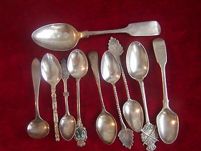 10 Old Sterling Silver  Spoons