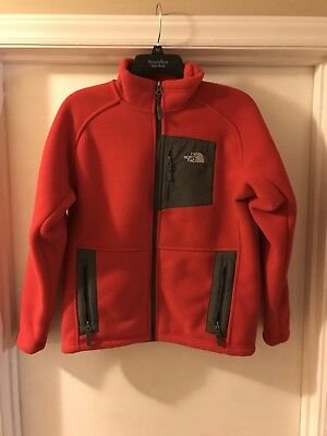 The North Face Red/Gray Size Youth Large L Fleece Full-Zip Jacket