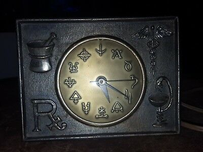 Vintage Brass Rx Pharmacy Desk Clock Working Condition