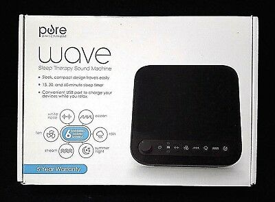 Pure Wave Sleep Therapy Sound Machine - 6 Soothing Sound Settings  + USB Port