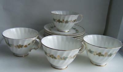 "Vintage Royal Doulton ""piedmont"" Fine Bone China 4 Tea Cups & 4 Luncheon Plates"