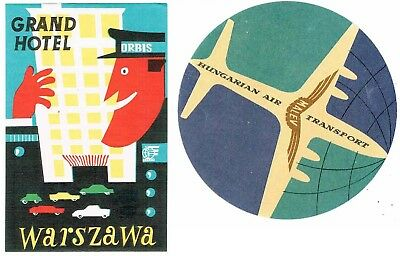 Grand Hotel, Warsaw & Hungarian Air Transport -Adv Hotel Luggage Stickers Labels