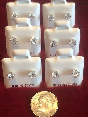 925 Sterling Silver Cz Earrings Studs~Round $2.99 (2mm)~4mm $3.99~ 4 Sizes