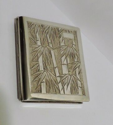 Sterling Silver 950 Cigarette Box Engraved Bamboo Trees Antique Wallet Card Case