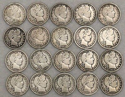 20 Barber Quarters 25C Vg All Different & Early Dates Great Starter Set!