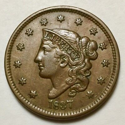 1837 N-9 R1 Coronet or Matron Head Large Cent with cracked obverse and reverse