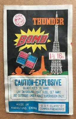 """Vintage Class 5 THUNDER BOMB Firecracker label (1973-76) 2"""" by 3"""""""