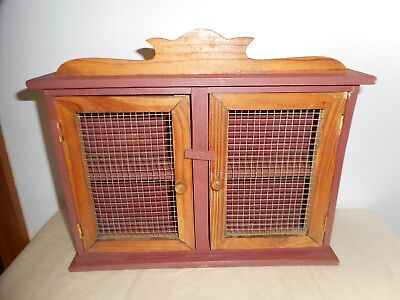 Vintage Wood Spice Cabinet With Wire Double Doors Sweet Find
