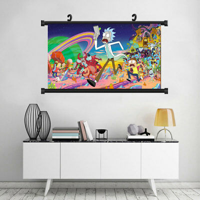 Rick and Morty Cartoon Silk Posters Print Characters Art Home Decor Ornament New