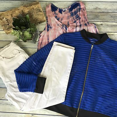 3 Pcs Womens Casual Outfit Lot Reitmans, Splendid Blue and pink Size Medium AC18