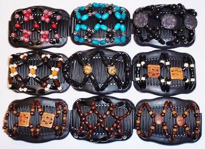 "Double Magic Hair Combs, Angel Wings Clips 4x3.5"", African Butterfly, BLACK S77"