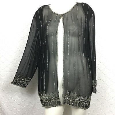 Silhouettes Sheer Sequined Long Sleeve Women's Evening Jacket SZ 20W