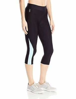 SKINS Women's A200 Thermal Compression 3/4 Capri Tights, Black/Glacier, X-Small
