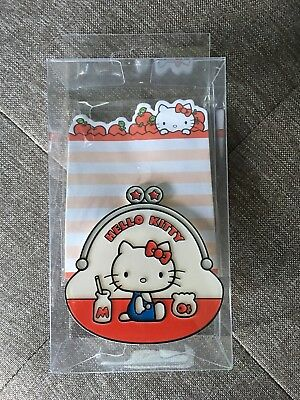Sanrio Hello Kitty Memo Pad with Clip Red White Apples New in Original Packaging