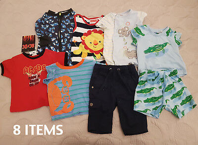 Bulk Lot 8x Blue Baby Boys Clothes Size 000 6KG PETER ALEXANDER, BONDS, ACDC