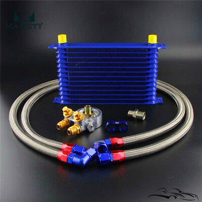 Universal 13 Row AN10 Engine Oil Cooler W/ Thermostat 80 Deg Filter Adapter Kit