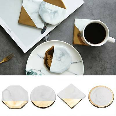 4 Styles Round Square Octagon Gold Marble Coaster Cup Mat Placemat Pad Holder