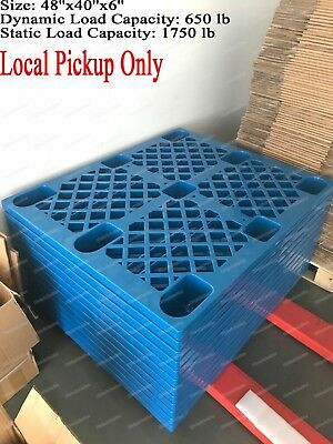 Used Blue Plastic Heavy Duty Shipping Freight Pallet, 48''x 40'', Cap 1750Lb