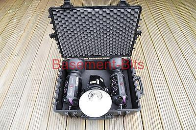 Three (3) Bowens Flash Heads Esprit 250 BW 1070 reflectors mounting arms case