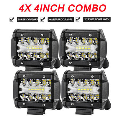 4X 4 inch CREE LED Work Light Bar Spot Flood Combo Offroad Driving Fog Reverse