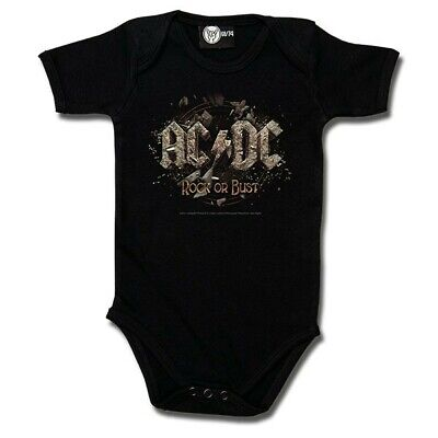 AC/DC Rock Or Bust Baby One Piece Bodysuit Metal Kids Romper Size 0-18