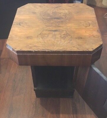 Art Deco Style Small Table With Cupboard, Birds Eye Maple Top
