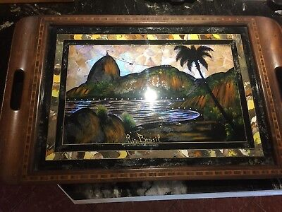 Vintage Art Deco Butterfly  Wing Serving Glass Top Tray Rio de Janeiro