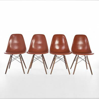 Terracotta Set (4) Herman Miller Original Eames DSW Dining Side Shell Chairs