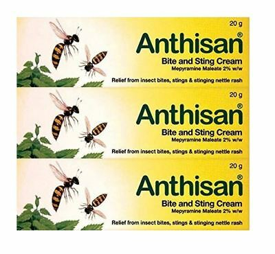 Anthisan Bite & Sting Insect Relief Children Adults Nettle Rash Cream 3 x (20G)